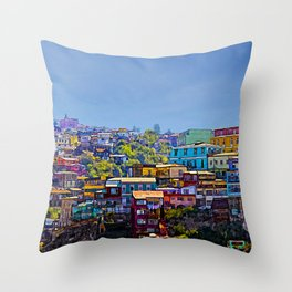 Cerro Artilleria, Valparaiso, Chile Throw Pillow