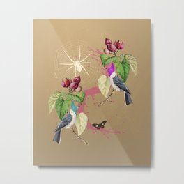 Exotic Gold Glitter Birds Metal Print