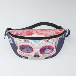 Mexican Skull Calavera Flower Floral Crown Watercolor Painting Fanny Pack