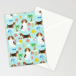 Beagles beagle pattern beach classic socal dog breed pattern palm trees tropical Stationery Cards