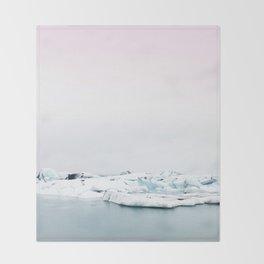 Beautiful glacier lagoon winter Throw Blanket