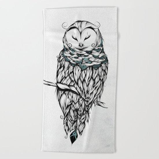 Poetic Snow Owl Beach Towel