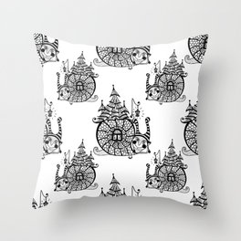 seamless pattern with funny snail Throw Pillow