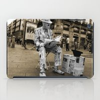newspaper iPad Cases featuring Newspaper Man by Rob Hawkins Photography