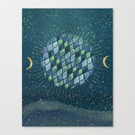 We are one - Planet and moons - Lunes Canvas Print