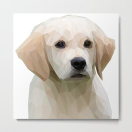 Adorable White Puppy Lowpoly Art Illustration Metal Print