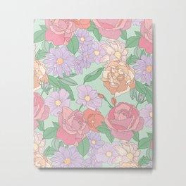Summer Garden Floral Print Metal Print