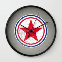 korea Wall Clocks featuring North Korea cocarde by Nxolab