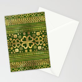Shamrock Four-leaf Clover Green Wood and Gold Stationery Cards