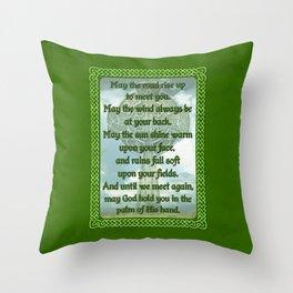 Green Irish Blessing Throw Pillow