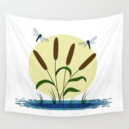Cattails and Dragonflies Wall Tapestry
