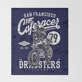 Caferacer Vintage Motorcycle Typography Throw Blanket