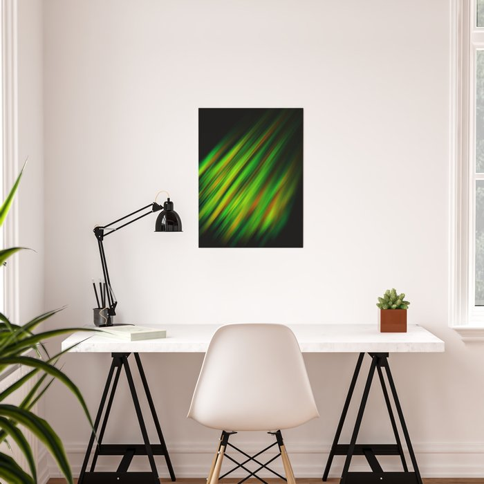 Colorful neon green brush strokes on dark gray Poster