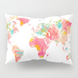 world map pink floral watercolor Pillow Sham