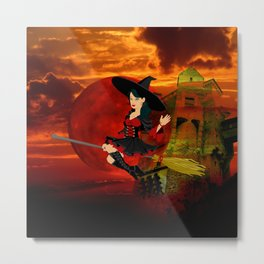 Witch and Red Moon Metal Print