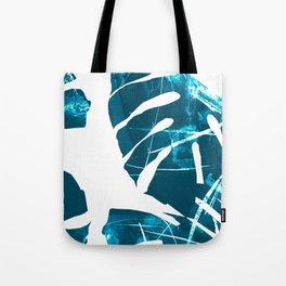 Monstera Leaf Blue Tote Bag