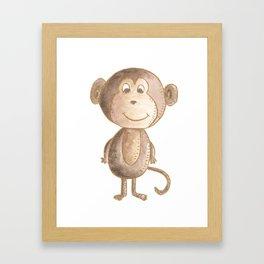 Brown little monkey in watercolor Framed Art Print