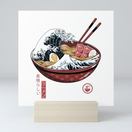 Great Ramen Wave White Mini Art Print