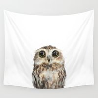 wildlife Wall Tapestries featuring Little Owl by Amy Hamilton
