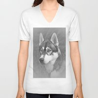 husky V-neck T-shirts featuring Siberian Husky by Doug McRae
