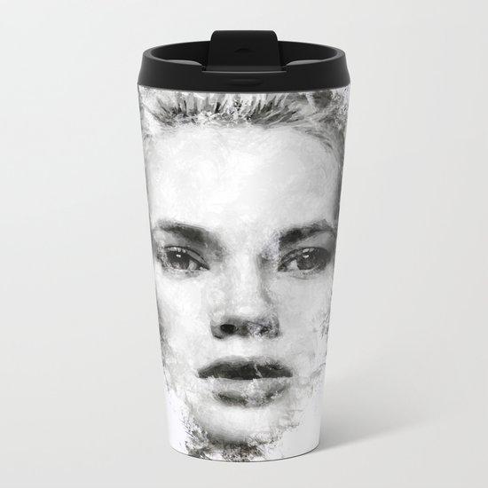Woman Portrait Metal Travel Mug
