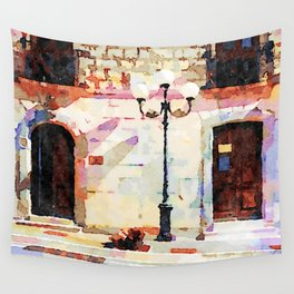 Borrello: street lamp with doors Wall Tapestry