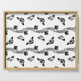 Delphiniums and Butterflies Black and White Serving Tray