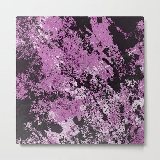 Abstract Texture Deux - Purple, White and Black Metal Print