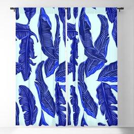 Banana leaves tropical leaves blue white #homedecor Blackout Curtain