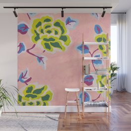 Japanese Flowers On Pink Background Wall Mural