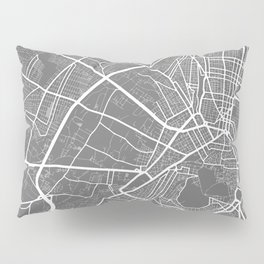 """ Travel Collection"" - Grey And White Minimal Athens City Map Pillow Sham"