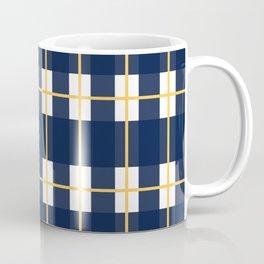 Window Check Pattern in Nautical Navy Blue, Bright Mustard Yellow, and White Coffee Mug