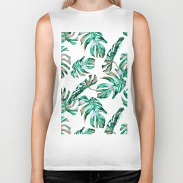 Green Coral Palm Leaves Biker Tank
