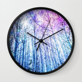Blue Forest Purple Leaves Wall Clock