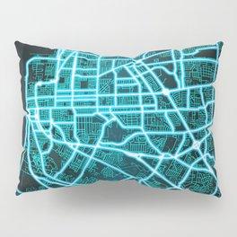 Baton Rouge, LA, USA, Blue, White, Neon, Glow, City, Map Pillow Sham