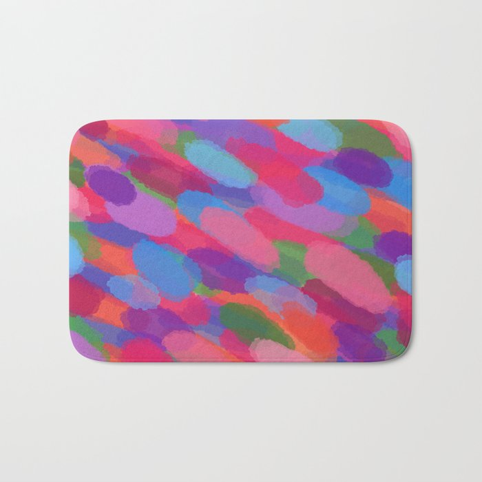 Rainbow Droplets Abstract Art Bath Mat