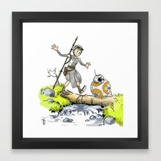 Calvin and Hobbes/Crossover Bb8 and Rey Framed Art Print
