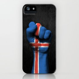 Icelandic Flag on a Raised Clenched Fist iPhone Case