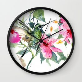 HIbiscus and Hummingbird Wall Clock