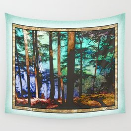 MOUNTAIN LAKE THROUGH HEMLOCK TREES Wall Tapestry