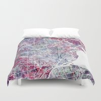 detroit Duvet Covers featuring Detroit map by MapMapMaps.Watercolors