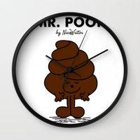 poop Wall Clocks featuring Mr Poop by NicoWriter