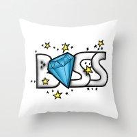 boss Throw Pillows featuring Boss by DeMoose_Art