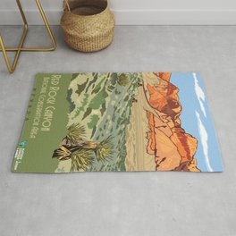 Vintage Poster - Red Rock Canyon National Conservation Area, Nevada (2015) Rug