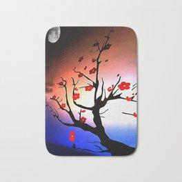 Japanese Maple Under Night Sky With Moon Bath Mat