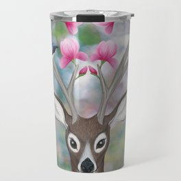 white tailed deer, black throated blue warblers, & magnolia blossoms Travel Mug