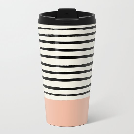 Peach x Stripes Metal Travel Mug
