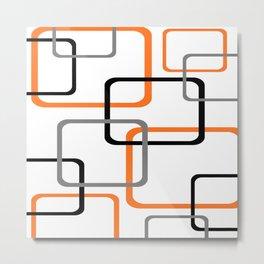 Geometric Rounded Rectangles Collage Orange Metal Print