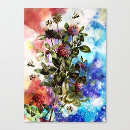 BEES AND CLOVER Canvas Print