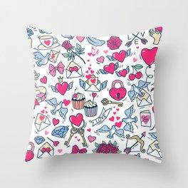 Valentine's Day.  Pattern for St. Valentine. White background. Throw Pillow
